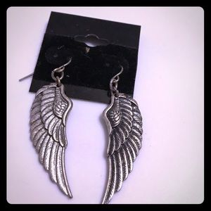 🔵 Spiritual duality angel wings earrings
